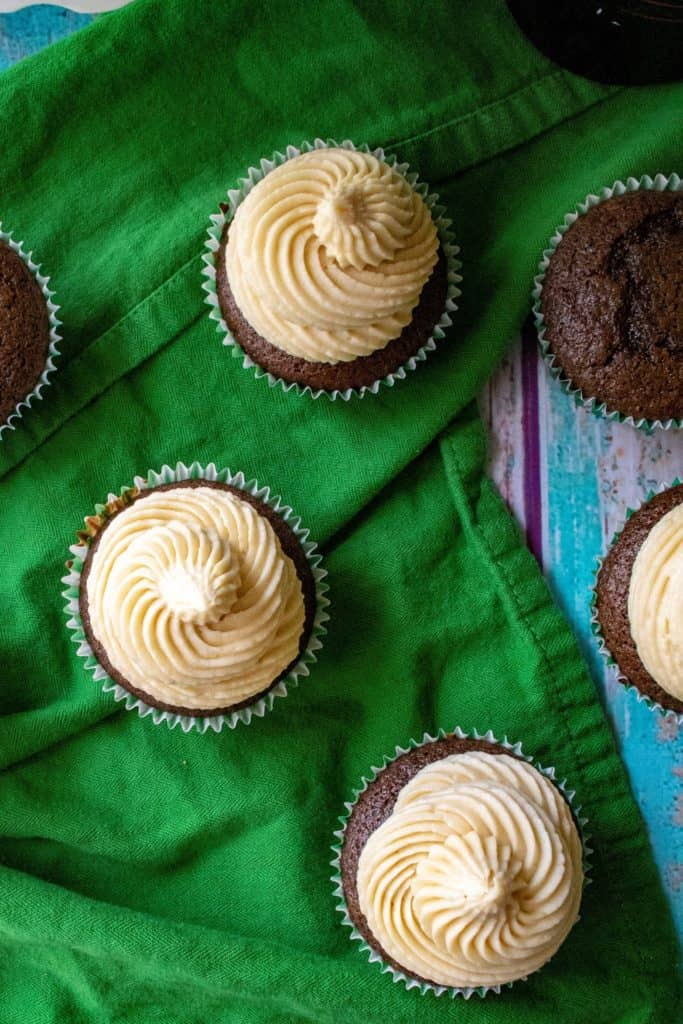 Baileys St. Patrick's Day Cupcakes from above
