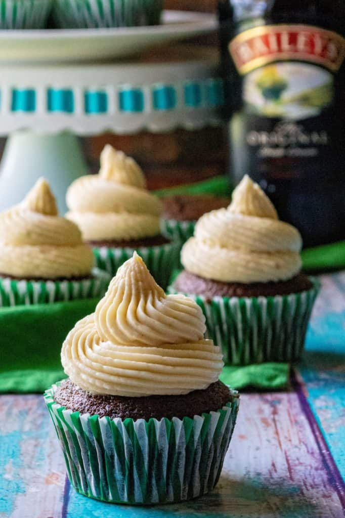 Baileys St. Patrick's Day Cupcakes are moist chocolate cupcakes infused with Baileys Irish Cream and topped with Baileys buttercream frosting. TheseBaileys St. Patrick's Day Cupcakes are the perfect grown up St. Patrick's Day cupcakes! | A Wicked Whisk