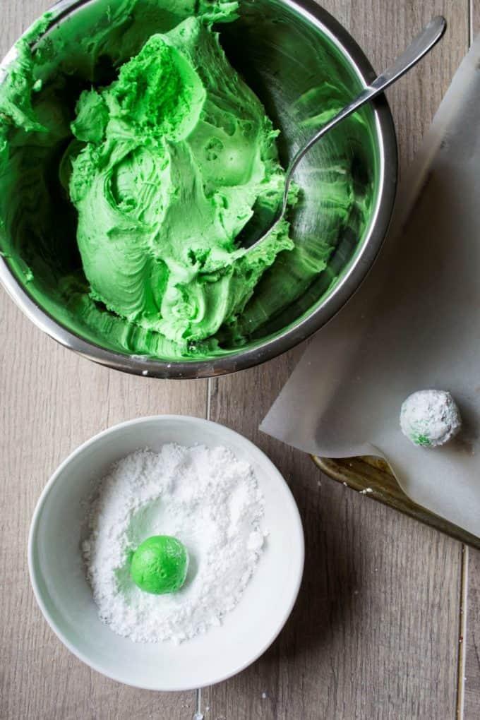 Green Christmas Crinkle Cookies batter