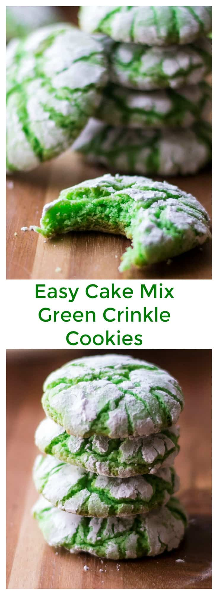 Green Crinkle Cookies are easy to make and fun to color. These soft baked green cookies made from store bought cake mix are fluffy and sweet and the perfect way to celebrate St. Patrick's Day, Easter or Christmas! #greencookies #greenfood #crinklecookies #christmascrinklecookies #christmascookies #stpatricksdaycookies #stpatricksdayfood #stpatricksdayfoodideas #eastercookies #cakemixcookies