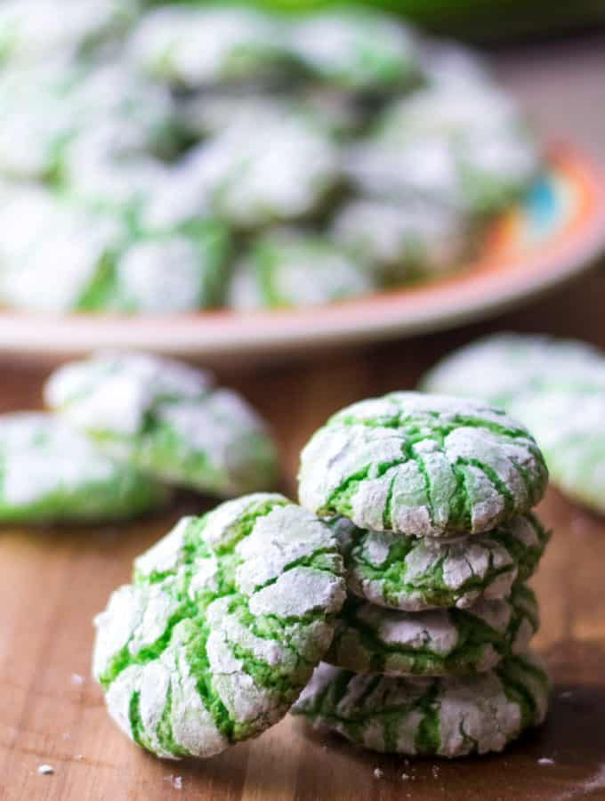 Green Christmas Crinkle Cookies stacked
