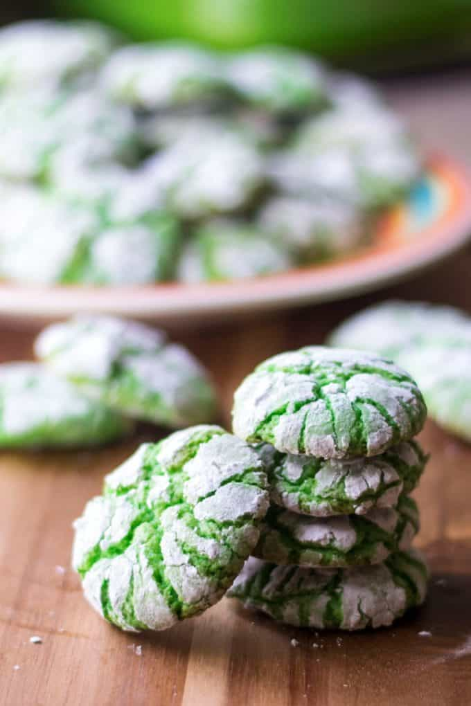 Green Christmas Crinkle Cookies stacked
