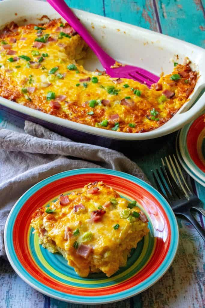 Ham and Cheese Hash Brown Breakfast Casserole on a plate