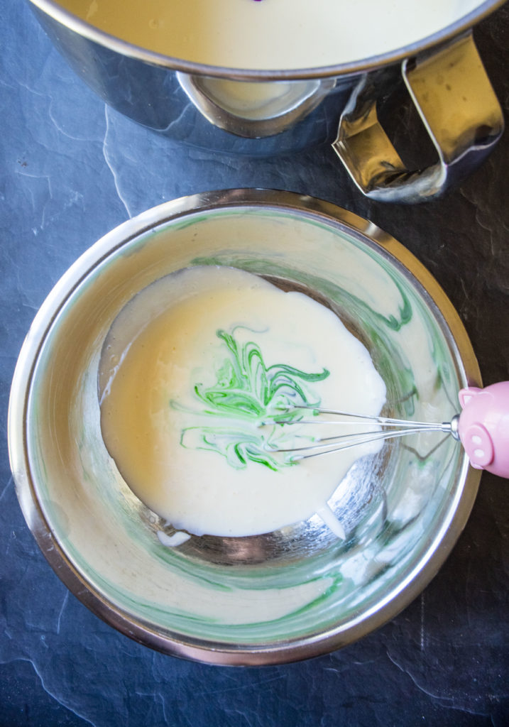 green cheesecake batter in a bowl