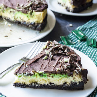 This Mint Chocolate Cheesecake on a plate