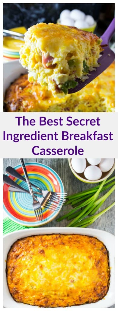 A delicious breakfast casserole full of eggs, meats, cheese and a super secret ingredient that will have everyone begging for more!