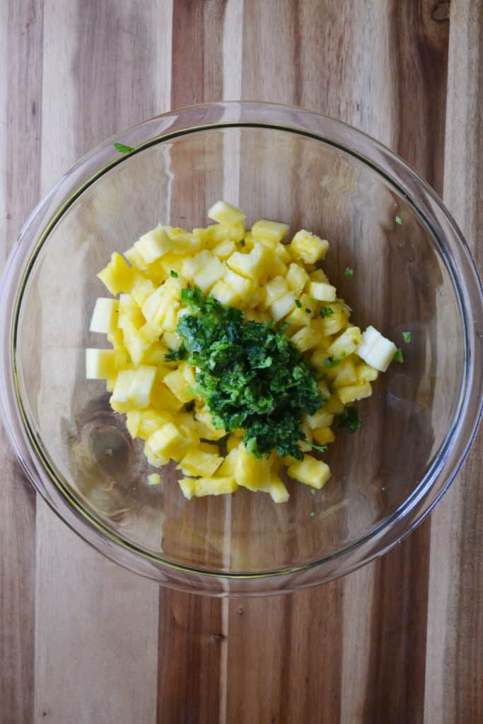Pineapple Jalapeno Salsa ingredients in a bowl