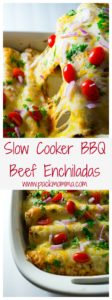 These Slow Cooker BBQ Beef Enchiladas are hearty and packed full of delicious BBQ flavor. An amazing new twist on a family favorite!! | Pack Momma | https://www.awickedwhisk.com