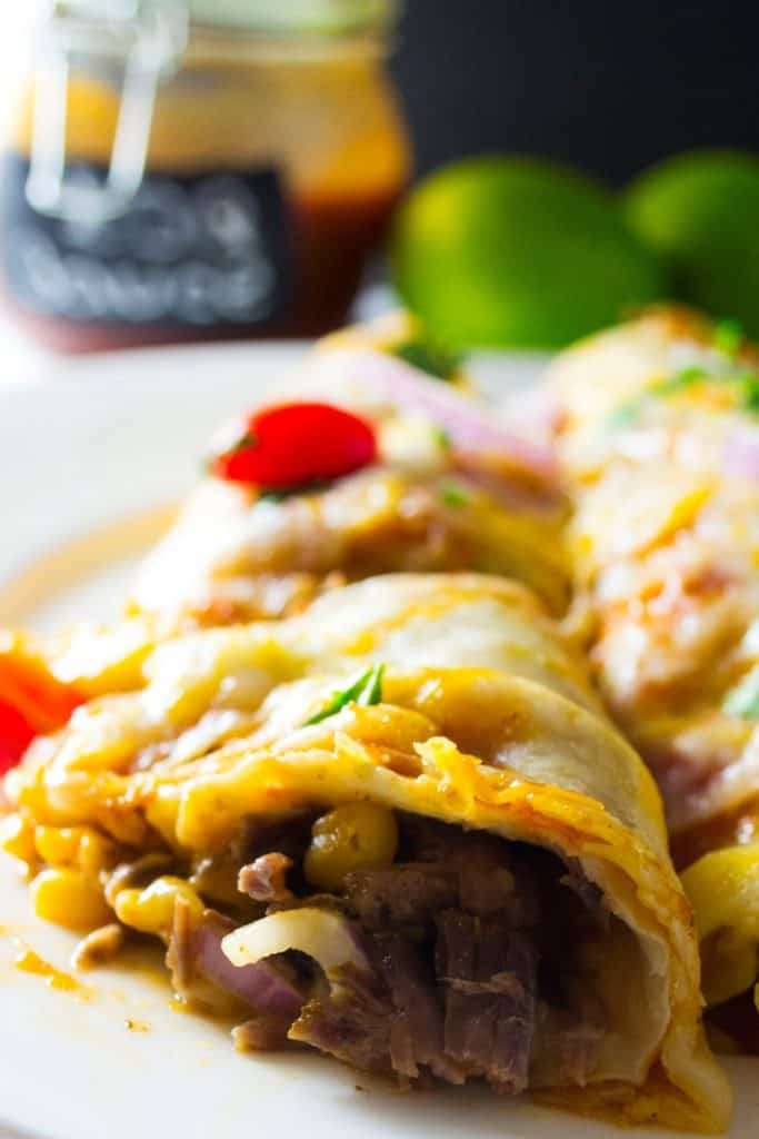 Slow Cooker BBQ Beef Enchiladas - Pack Momma