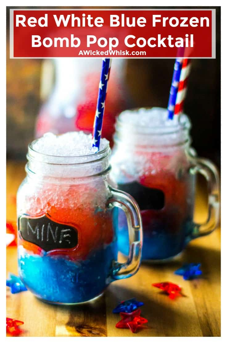 This Bomb Pop Cocktail is the most cool and refreshing way to celebrate Fourth of July. Patriotic and perfect for showing off your red, white and blue, this July 4th Red White and Blue Frozen Bomb Pop Cocktail is the ideal Independence Day drink. | A Wicked Whisk | https://www.awickedwhisk.com #fourthofjuly #fourthofjulydrink #july4thdrink #bombpopdrink #bombpopcocktail #july4thparty #redwhitebluedrink