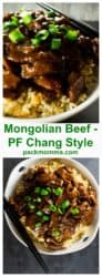 P.F. Chang Style Mongolian Beef | This sweet and spicy P.F. Chang's Mongolian Beef dish is rich with Asian inspired flavors and tastier than any Chinese take out you could have delivered. | A Wicked Whisk | https://www.awickedwhisk.com