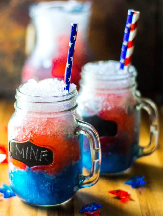 July 4th Red White and Blue Frozen Bomb Pop Cocktail