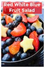 Red White and BlueFruit Salad is with packed blueberries, strawberries and patriotic star cut apples. A refreshing dish to bring to any outdoor occasion, this Red White and BlueFruit Salad is the perfect healthy sweet treat. | A Wicked Whisk | https://www.awickedwhisk.com | #fruitsalad #redwhitebluefood #redwhitebluefruitsalad #partyfood #fourthofjulyparty #fourthofjulyfood #fourthofjuly #julyfourthfood #summersalad #summerpartyfood #fourthofjulyhealthy