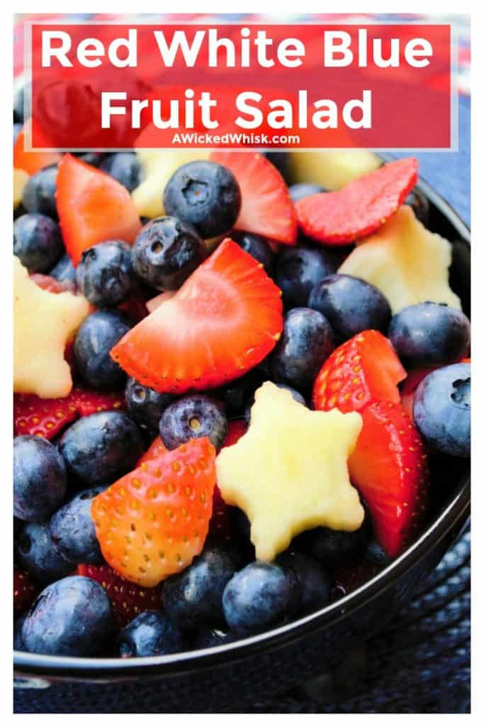 Red White and BlueFruit Salad is with packed blueberries, strawberries and patriotic star cut apples. A refreshing dish to bring to any outdoor occasion, this Red White and BlueFruit Salad is the perfect healthy sweet treat.   A Wicked Whisk   https://www.awickedwhisk.com   #fruitsalad #redwhitebluefood #redwhitebluefruitsalad #partyfood #fourthofjulyparty #fourthofjulyfood #fourthofjuly #julyfourthfood #summersalad #summerpartyfood #fourthofjulyhealthy
