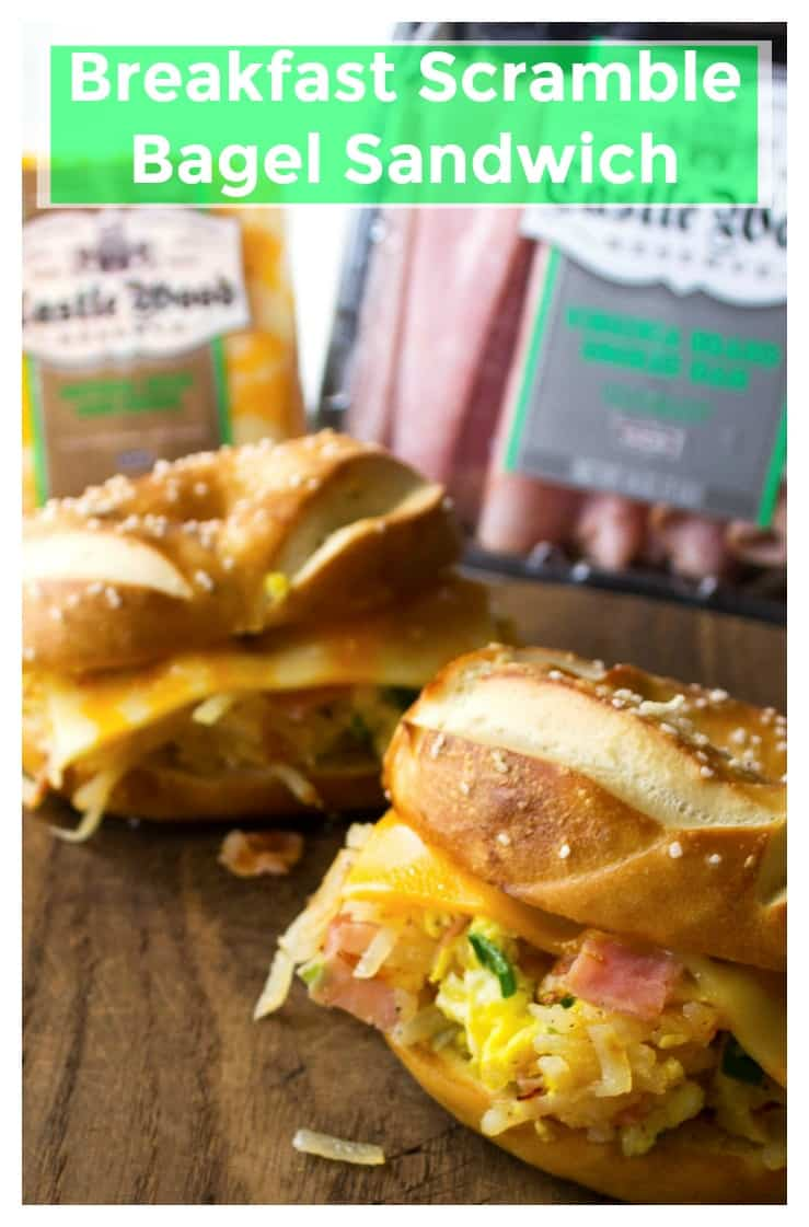 Scramble Bagel Sandwich | Scramble Bagel Sandwich is a quick, delicious fix to a hungry tummy and a creative solution to the Back To School lunchtime question. | A Wicked Whisk | https://www.awickedwhisk.com #breakfastsandwich #lunchsandwich #breakfastscramble #easylunch