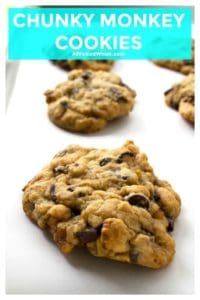 Chunky Monkey Cookies are ice cream inspired and cookie perfected. Soft baked banana cookies with dark chocolate chunks and tons of walnuts makes these Chunky Monkey Cookies your new favorite cookie! | A Wicked Whisk | https://www.awickedwhisk.com #chunkymonkey #chunkymonkeycookies #bananacookies #largecookies #chunkymonkeycookieseasy #cookies #chocolatechipcookies #bigcookies