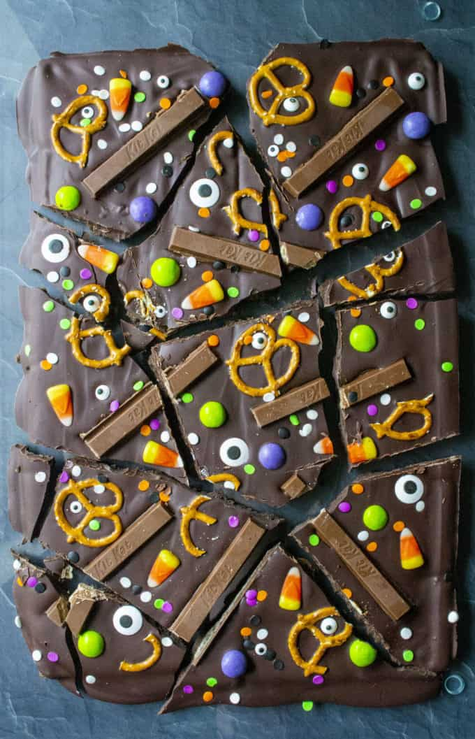 halloween candy bark cut up