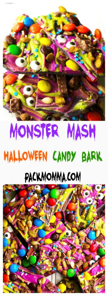 Monster Mash Halloween Candy Bark | This festive and fun no-bake Monster Mash Halloween Candy Bark is the perfect sweet treat to scare up some new friends this Halloween | A Wicked Whisk