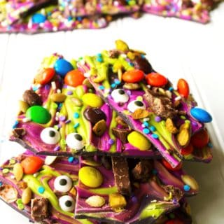 Monster Mash Halloween Candy Bark   This festive and fun no-bake Monster Mash Halloween Candy Bark is the perfect sweet treat to scare up some new friends this Halloween   Pack Momma   https://www.awickedwhisk.com