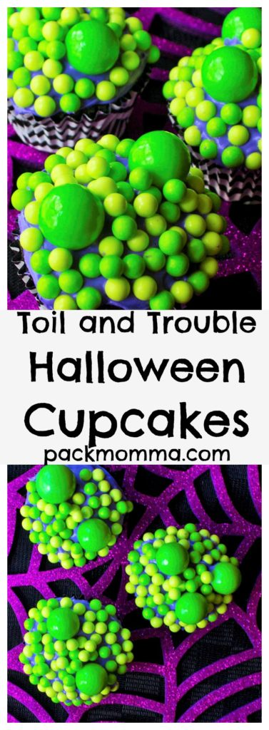Toil and Trouble Halloween Cupcakes | Celebrate the Halloween season with these festive and fun Toil and Trouble Halloween Cupcakes. Perfect delicious fun for all ages! | A Wicked Whisk