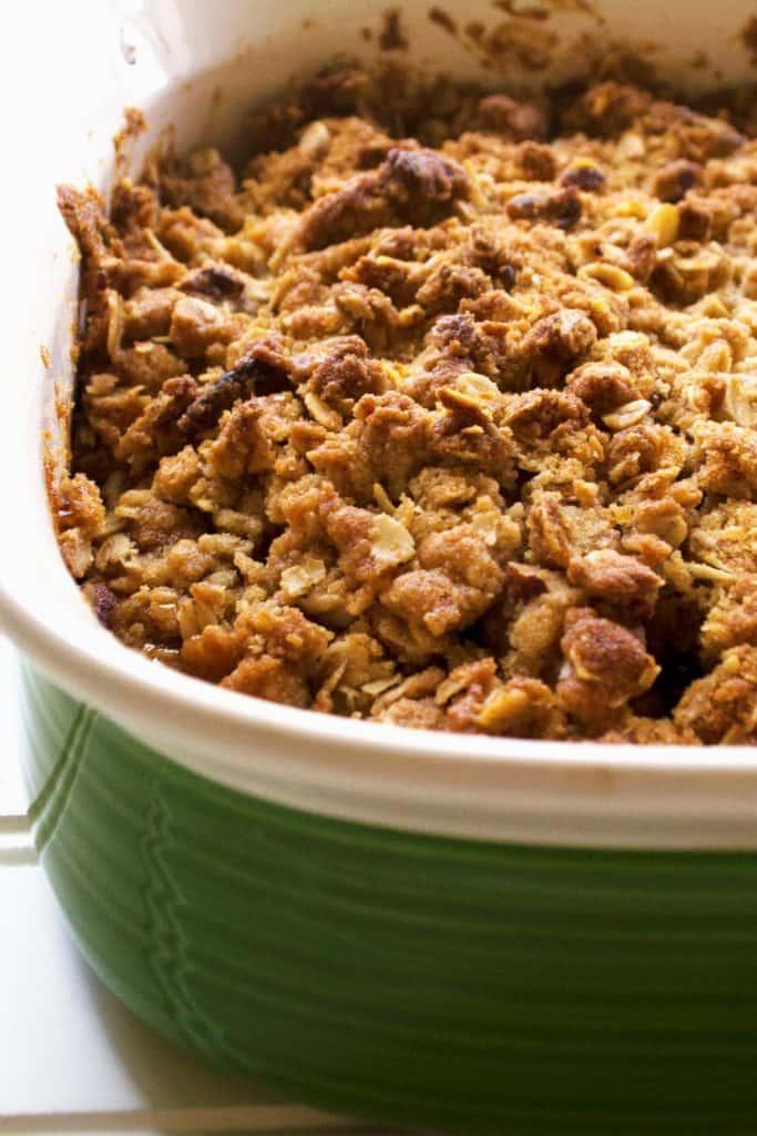 Easy Apple Pear Crisp in a pan