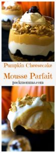 Pumpkin Cheesecake Mousse Parfaits | Satisfy your sweet tooth with these Pumpkin Cheesecake Mousse Parfaits. Super easy to make and delicious to eat, these will be your new fall favorite! | A Wicked Whisk