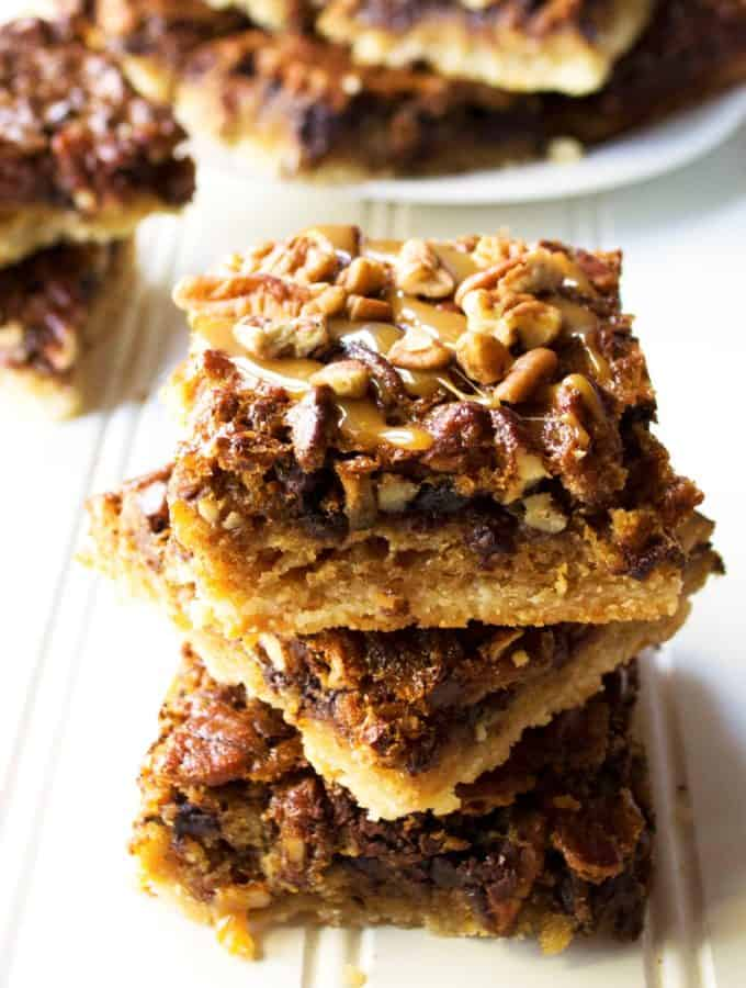 Chocolate Pecan Shortbread Bars three bars