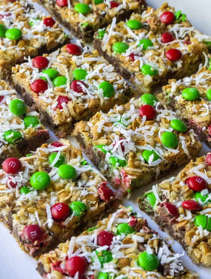 Christmas Seven Layer Magic Bars cut in squares