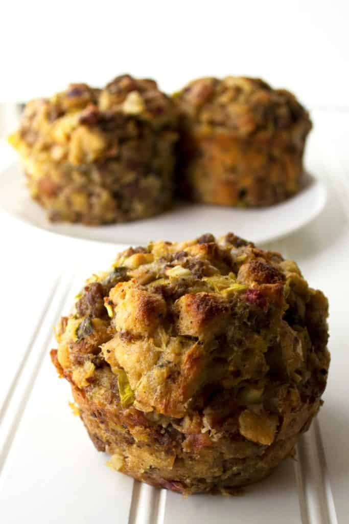 Stuffing Muffins | Stuffing Muffins are a fun twist on a classic holiday dish. Liven up your holiday dinner table with this new way to serve your favorite stuffing recipe. | Pack Momma | https://www.awickedwhisk.com