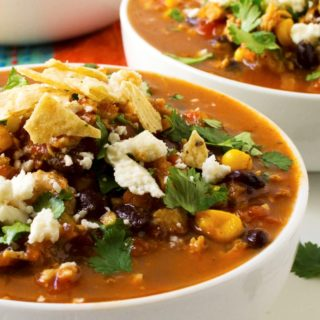 Easy Tortilla Soup in a white bowl