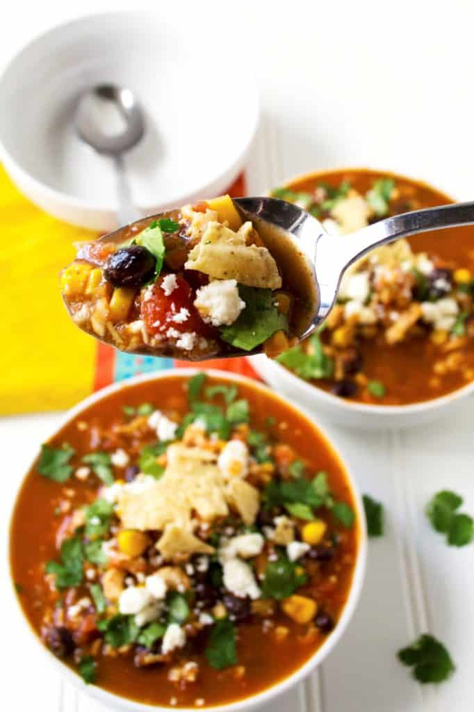 Easy Tortilla Soup on a spoon