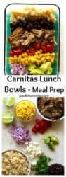 Carnitas Lunch Bowls (Meal Prep) | Carnitas Lunch Bowls (Meal Prep) are the perfect way to way to prep for the week with these healthy lunch bowls! Healthy, high protein and so nutritious! | A Wicked Whisk | www.awickedwhisk.com