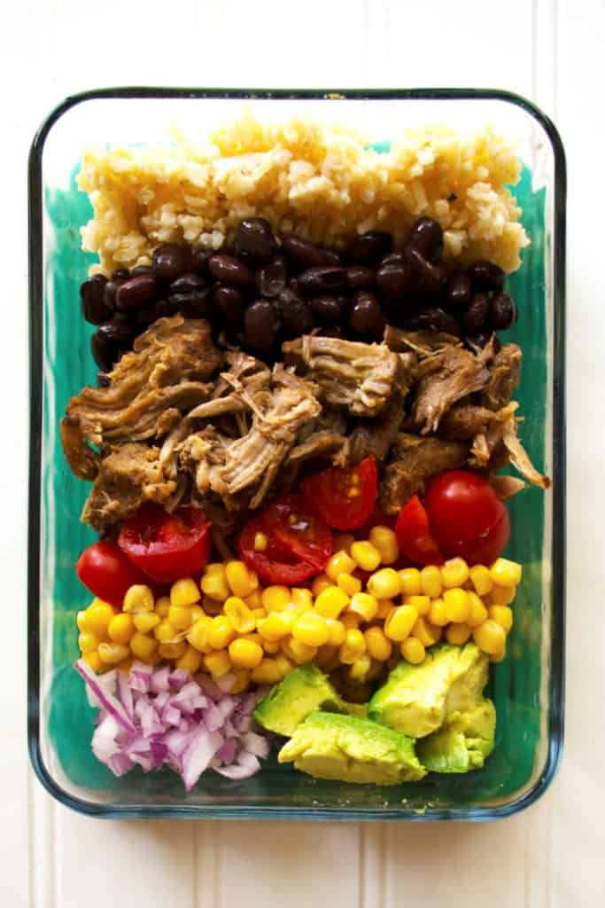 Carnitas Lunch Bowls (Meal Prep) | Carnitas Lunch Bowls (Meal Prep) are the perfect way to way to prep for the week with these healthy lunch bowls! Healthy, high protein and so nutritious! | Pack Momma | https://www.awickedwhisk.com