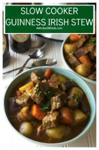 Slow Cooker Guinness Irish Stew is the perfect comfort food to celebrate St. Patrick's Day or any day with family and friends. | A Wicked Whisk | #stpatricksdayfood #stapatricksdayfooddinner #stpatricksdayfooddinnercrockpot #stpatricksdayfooddinnercrockpotmeat #stpatricksdayirishstew #stpatricksdayfoodforacrowdirishstew #guinnessirishstew #guinnessirishbeefstew #guinnessirishbeefstewcrockpot