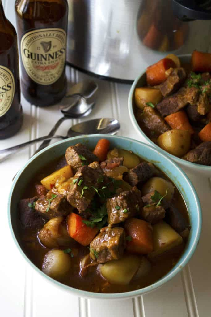 Slow Cooker Guinness Irish Stew | Slow Cooker Guinness Irish Stew is the perfect comfort food to celebrate St. Patrick's Day or any day with family and friends. | Pack Momma | https://www.awickedwhisk.com