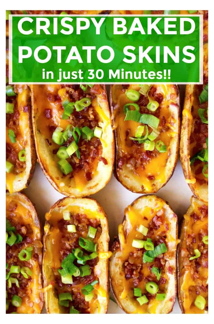 Crispy Baked Potato Skins are easy, cheesy and the perfect family favorite appetizer for game day or any day! Made in just 30 minutes, these Crispy Baked Potato Skins are crispy on the outside and piled high with melted cheddar cheese, crunchy bacon and sharp green onion on the inside. Perfect!!! | A Wicked Whisk | https://www.awickedwhisk.com #potatoskins #loadedpotatoskins #gamedayfood #appetizer #gamedayappetizer #partyfood #quickpotatoskins #30minutepotatoskins #loadedpotatoskinseasy #gamedaysnacks