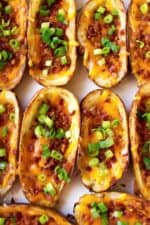 Loaded Potato Skins | These Loaded Potato Skins are easy, cheesy delicious to make and are the perfect family favorite appetizer for game day or any day! | Pack Momma | https://www.awickedwhisk.com