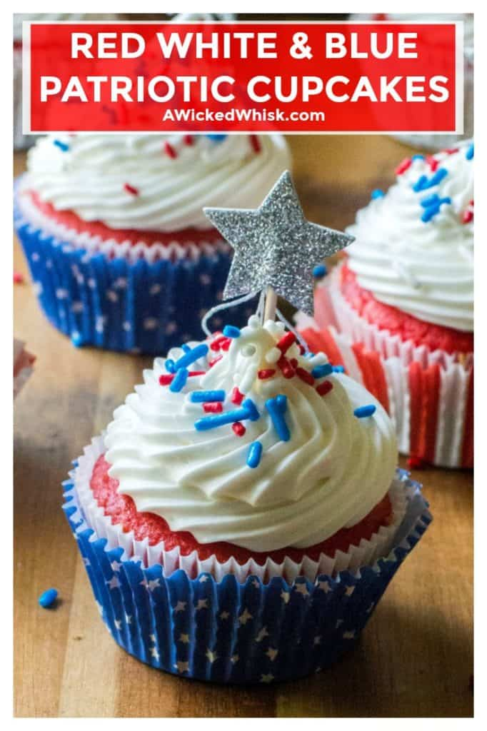 Red White and Blue Patriotic Cupcakes are the perfect Fourth of July Cupcakes to show off your American pride. Red, white and blue layered cupcakes topped with homemade buttercream frosting, these Red White and Blue Patriotic Cupcakes will be the star of every Fourth of July dessert table.| A Wicked Whisk | https://www.awickedwhisk.com #redwhitebluecupcakes #redwhitebluefood #fourthofjulycupcakes #fourthofjulydessert #fourthofjulyfood #fourthofjulyparty #patrioticcupcakes