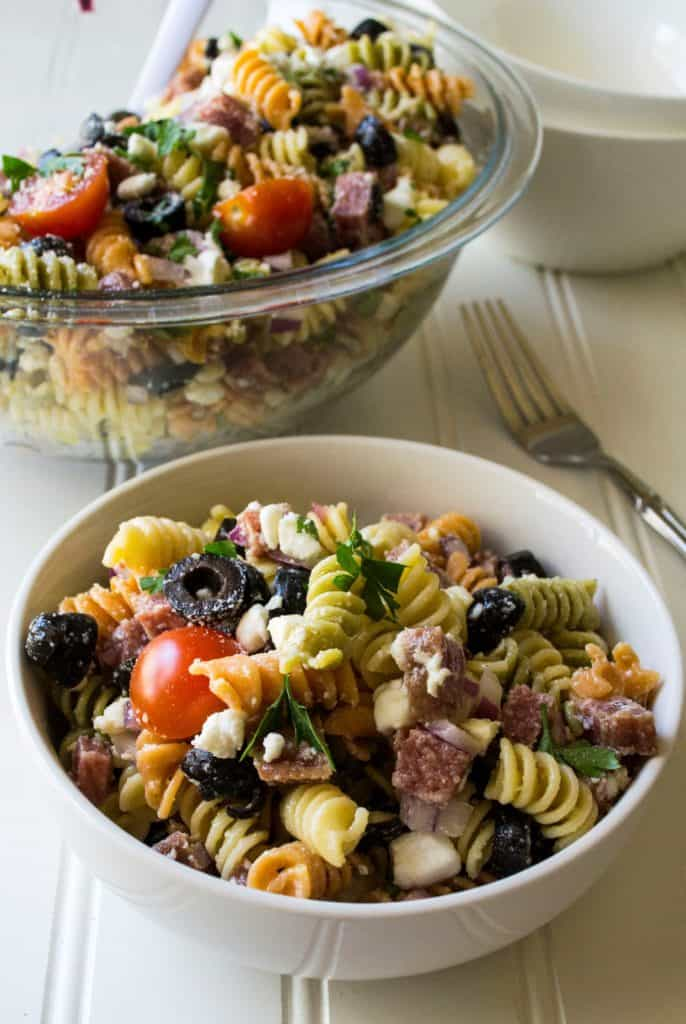 Italian Pasta Salad with Pepperoni white bowl