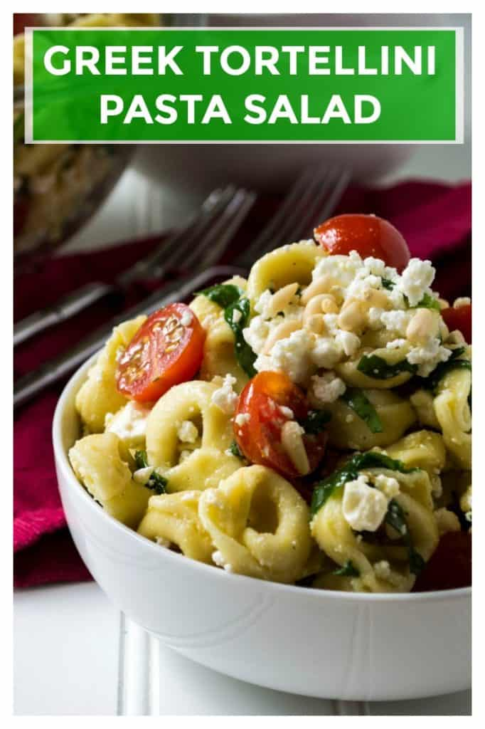 Greek Tortellini Pasta Salad is light, refreshing and so quick to put together it is the perfect side dish to bring to any of your summer backyard parties. Creamy, tangy with a bit of pine nut crunch, thisGreek Tortellini Pasta Saladwill be your favorite cold pasta salad to share with family and friends. | A Wicked Whisk | https://www.awickedwhisk.com #pastasalad #greekpastasalad #tortellinipastasalad #summerpartyfood #coldpastasalad #bbqsidedishes