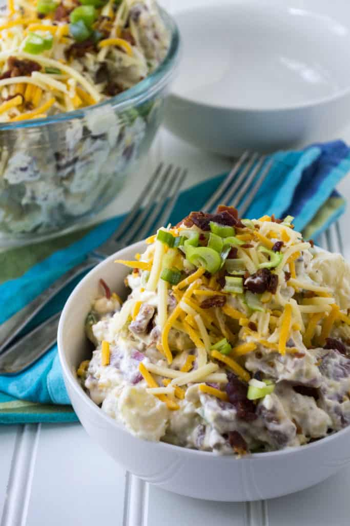 Loaded Potato Salad in a bowl