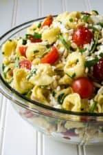 Greek Tortellini Pasta Salad in a serving bowl