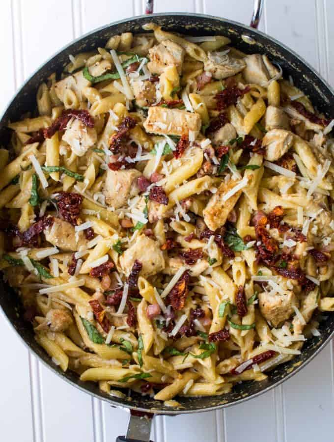 Tuscan Chicken Pasta in a skillet