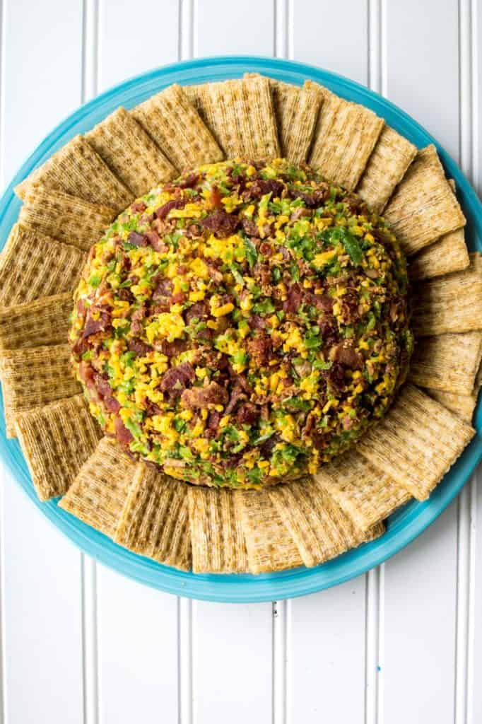 Bacon Jalapeno Cheese Ball looking down on plate