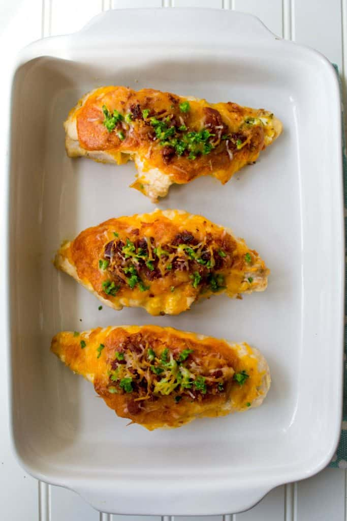 Cheesy Jalapeno Popper Stuffed Chicken in a pan