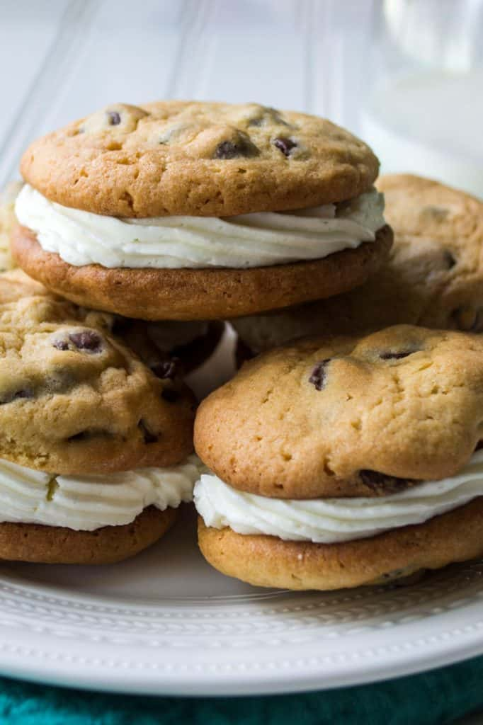 Chocolate Chip Whoopie Pies | Chocolate Chip Whoopie Pies are soft baked chocolate chip cookies sandwiching fluffy buttercream frosting to make the perfect dessert sweet treat. | Pack Momma | https://www.awickedwhisk.com