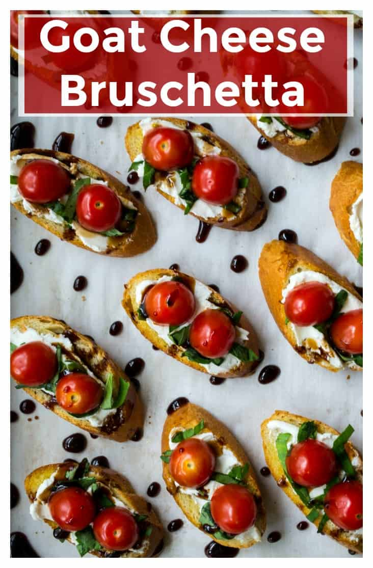 Goat Cheese Bruschetta is the BEST bruschetta appetizer to serve at every party. Toasted bread topped with creamy goat cheese, basil, tomatoes and balsamic glaze, this Goat Cheese Bruschetta recipe is the perfect finger food snack! | A Wicked Whisk | https://www.awickedwhisk.com #appetizer #bruschetta #goatcheesebruschetta #partyfood #fingerfood #goatcheese #appetizerforparty #partyappetizers