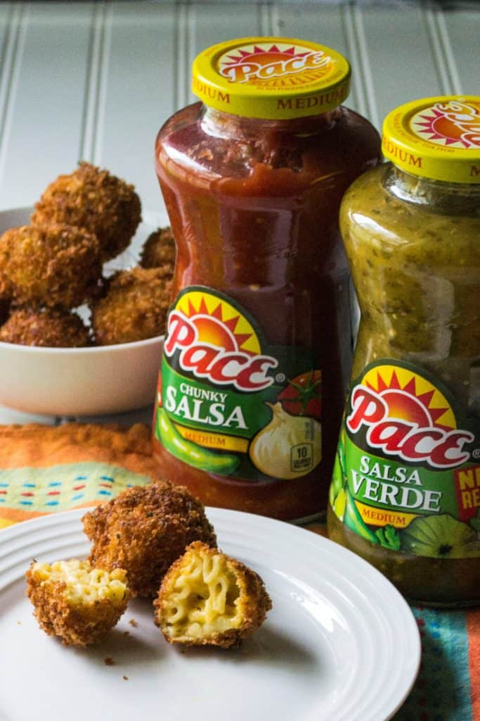 Fried Salsa Verde Macaroni and Cheese Balls | Fried Salsa Verde Macaroni and Cheese Balls are perfect Game Day appetizers with a crispy outside and creamy cheesy southwest mac n cheese on the inside! | Pack Momma | https://www.awickedwhisk.com