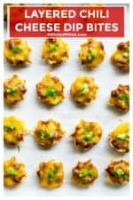 Layered Chili Cheese Dip Bites combine spicy Hormel chili, melted cheddar cheese and cream cheese and deliver it in all in individual little nacho chips. Perfect for Game Day, these Layered Chili Cheese Dip Bites will be the hit of every party! | A Wicked Whisk | https://www.awickedwhisk.com #chili #chilicheesedip #layeredchilicheesedip #chilicheesedipbites #gamedayfood #fingerfood #gamedayappetizers #gamedaychili #gamedaychilicheesedip