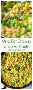 One Pot Cheesy Chicken Pasta | One Pot Cheesy Chicken Pasta is a hearty meal that's on your table in 30 minutes. Tender chicken, pasta, cheese and broccoli make this the perfect dinner. | A Wicked Whisk | www.awickedwhisk.com